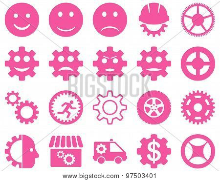Tools and Smile Gears Icons