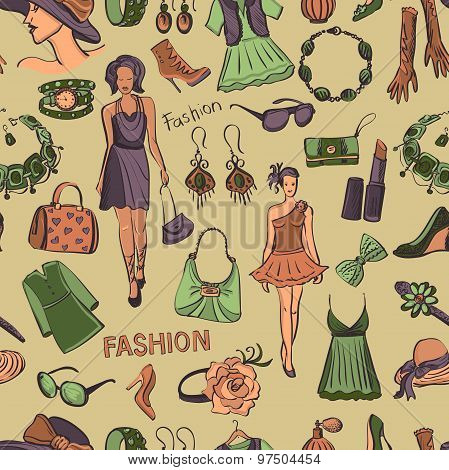 Hand drawn Seamless pattern with scratched beauty and fashion symbols