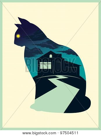 Midnight Cat Vector Illustration