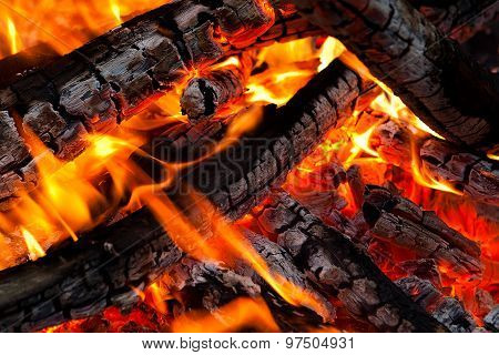 Burning Coals On A Grill
