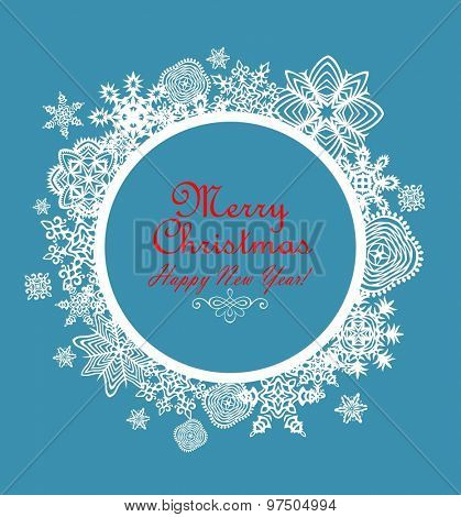 Beautiful paper xmas frame with snowflakes