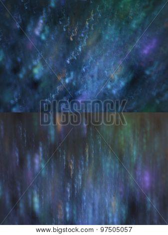 Set Of Dark Blue With Lights Bokeh
