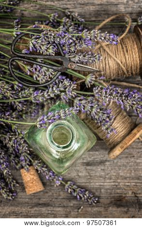 Herbal Oil Essence And Lavender Flowers. Vintage Decoration. Retro Style