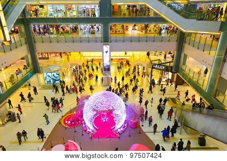 HONG KONG, CHINA - FEBRUARY 04, 2015: shopping center interior before Chinese New Year. In Hk a wide selection of clothing boutiques, designer flagship stores, restaurants, daily shows and exhibitions