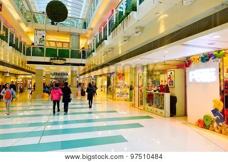HONG KONG, CHINA - FEBRUARY 04, 2015: shopping center interior. In Hong Kong a wide selection of clothing boutiques, designer flagship stores, restaurants, daily shows and exhibitions