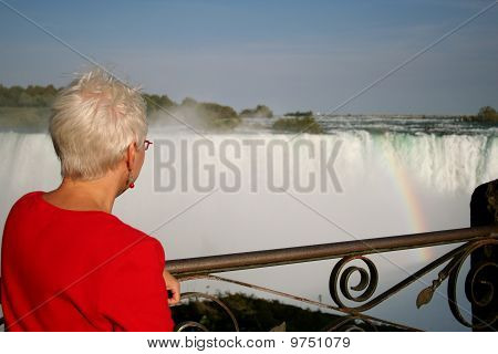 Woman at Niagara Falls