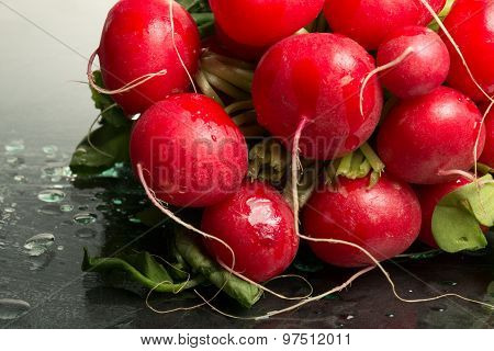 Bundle Of Red Radishes On Display, Close-up