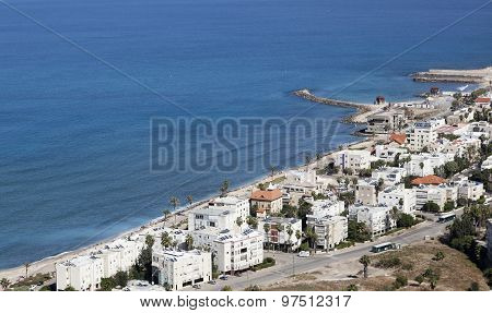 View From Mount Carmel To Galshanim Beach. Haifa. Israel.
