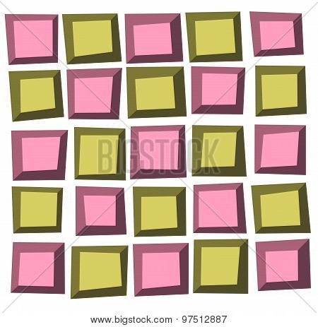Irregular Tile Pattern Frames In Green Pink Over White