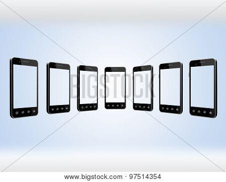 Smart-phones Transparent On The Light Blue Background