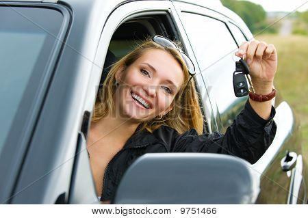 Woman And New Black Car