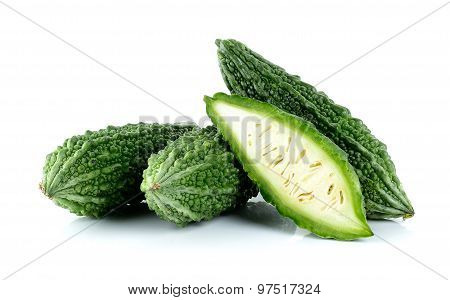 Bitter Gourd Isolated On The White Background