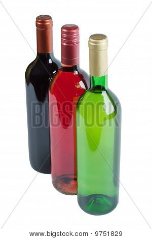 Bottles Of White, Pink And Red Wine