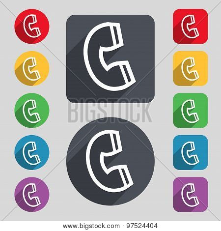 Handset Icon Sign. A Set Of 12 Colored Buttons And A Long Shadow. Flat Design. Vector