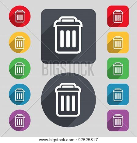 The Trash Icon Sign. A Set Of 12 Colored Buttons And A Long Shadow. Flat Design. Vector