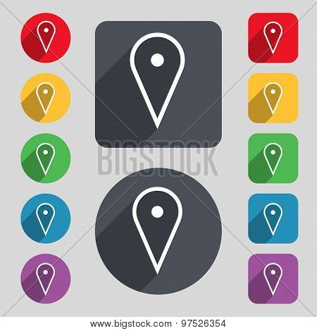 Map Poiner Icon Sign. A Set Of 12 Colored Buttons And A Long Shadow. Flat Design. Vector