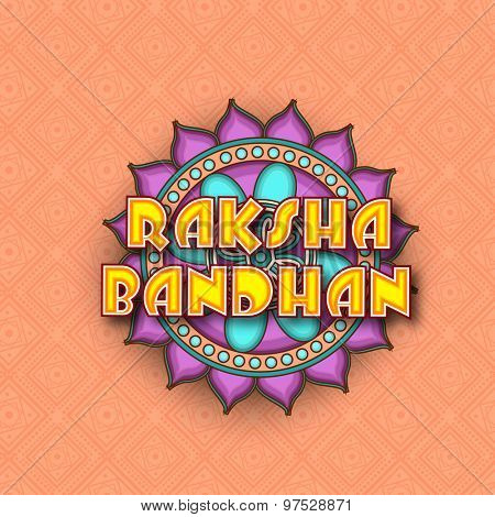 Elegant greeting card design decorated with traditional floral pattern on stylish background for Indian festival of brother and sister love, Happy Raksha Bandhan celebration.