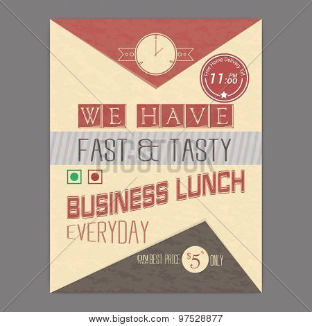 Fast and Tasty, Business Lunch flyer or template with free home delivery on vintage background.