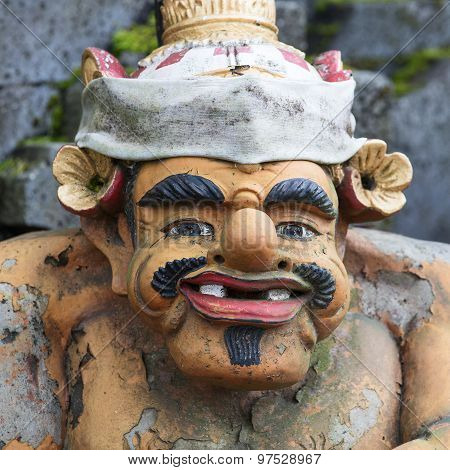 Closeup Of Traditional Balinese God Statue In Central Bali Temple