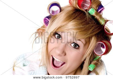 Funny Housewife With Curlers