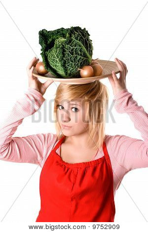 Young Beautiful Woman With Fresh Savoy Cabbage