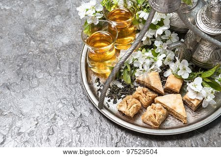 Tea Glasses And Pot, Traditional Delight Baklava. Islamic Holidays