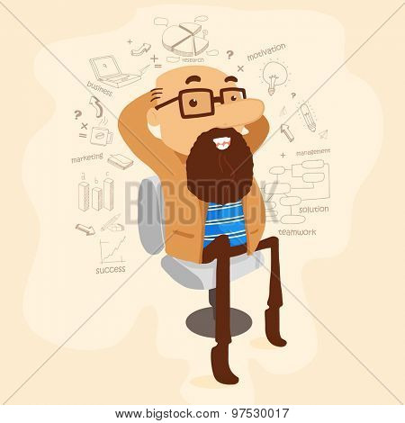Illustration of a long beard business man sitting on chair with various infographic elements.