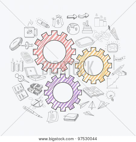 Set of creative business infographic elements with colorful setting icon on white background.