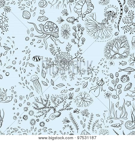 Hand Drawn Underwater World Seamless Background