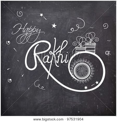 Stylish text Happy Rakhi drawn on chalkboard background for Indian festival of brother and sister love, Happy Raksha Bandhan celebration.