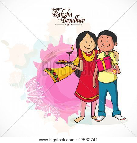 Cute brother and sister enjoying and celebrating Raksha Bandhan festival.