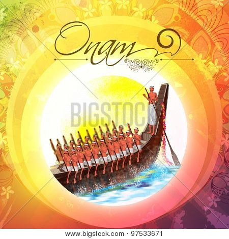 Illustration of snake boat with oarsman at river on colorful floral design decorated background for Happy Onam celebration.