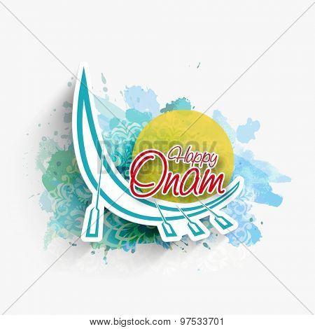 Stylish snake boat on blue color splash background for South Indian festival, Happy Onam celebration.