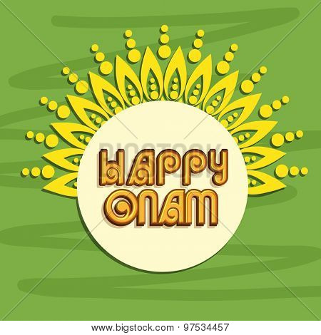 Greeting card design decorate by floral pattern on green background for Happy Onam celebration.