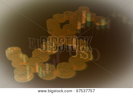 US dollar sign made from coins
