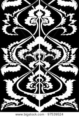 Ornamental border floral silhouette vertical floral pattern isolated background Oriental motif