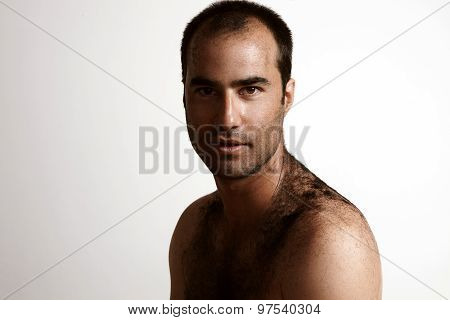 Man After Hairut With A Cutted Hair On A Skin