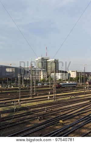 MUNICH, GERMANY - JULY 3, 2015: Building of the public-service radio and television broadcaster Bayerischer Rundfunk in Munich at Hackerbruecke