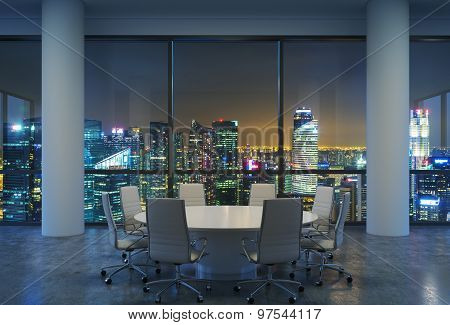 Panoramic Conference Room In Modern Office, Cityscape Of Singapore Skyscrapers At Night. White Chair