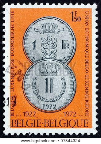 Postage Stamp Belgium 1972 Coins Of Belgium And Luxembourg
