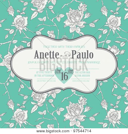 Vintage Wedding Floral Card - Save the Date, Invitation, Baby Shower - in vector