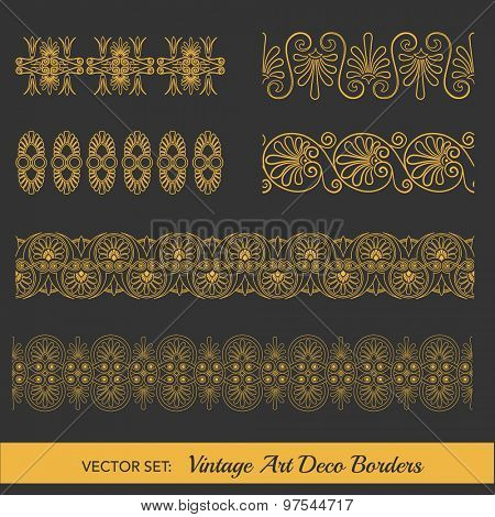 Set of Vintage Borders - in Art Deco Style - in vector