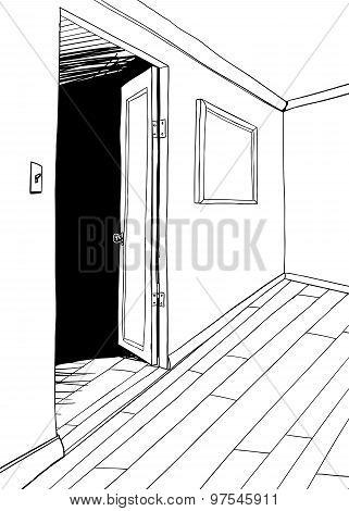 Room With Dark Doorway Outline