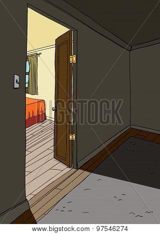 Light Of Bedroom In Doorway