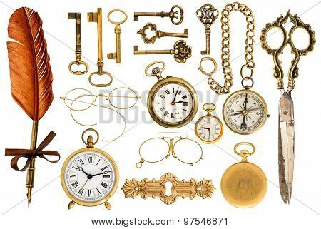 Golden Vintage Accessories. Antique Keys, Clock, Glasses, Scissors, Compass