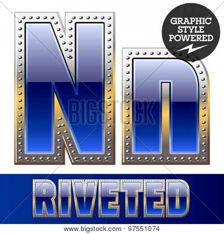 Vector set of font in blue color with riveted border. Letter N