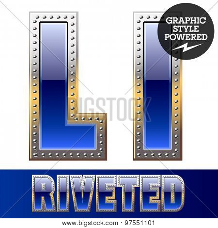 Vector set of font in blue color with riveted border. Letter L
