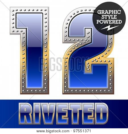 Vector set of font in blue color with riveted border. Numbers 1 2