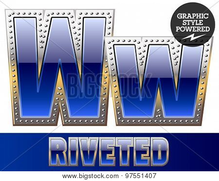 Vector set of font in blue color with riveted border. Letter W