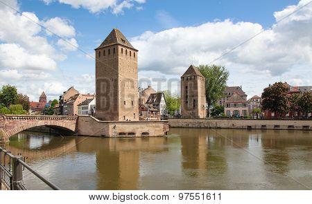 Medieval Bridge Ponts Couverts In Strasbourg, Alsace, France